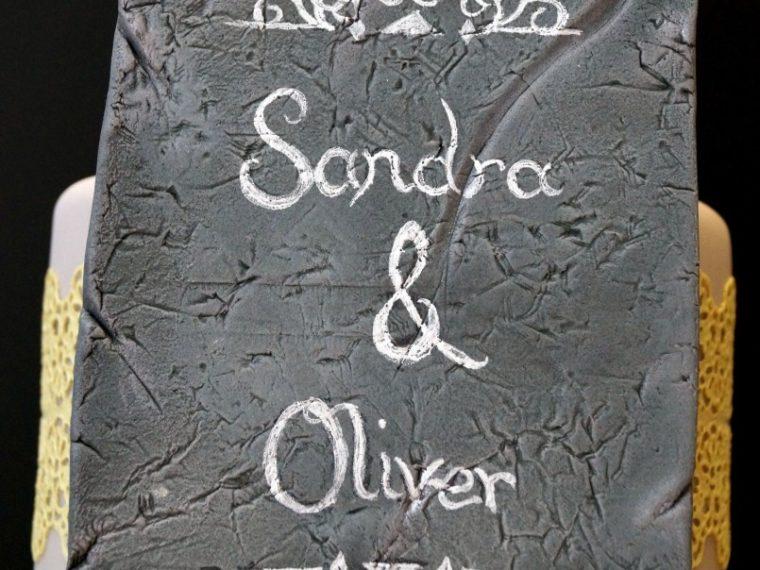 Eine Schiefertafel für Sandra & Oliver